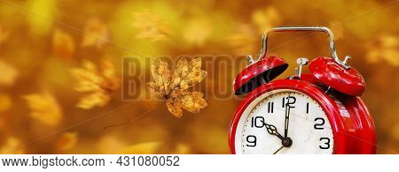 Retro Red Alarm Clock With Autumn Leaves, Daylight Savings Time Banner