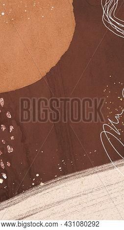 Brown tone contemporary Memphis textured mobile phone wallpaper illustration