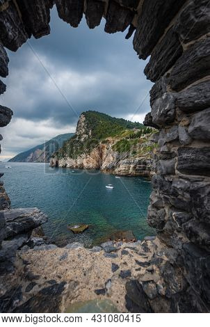 Coast Of The Cinque Terre National Park With Cliffs And Mediterranean Sea, Panorama Seen Through A W