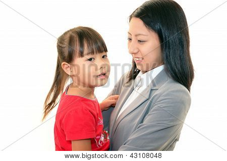 The beautiful woman and little girl