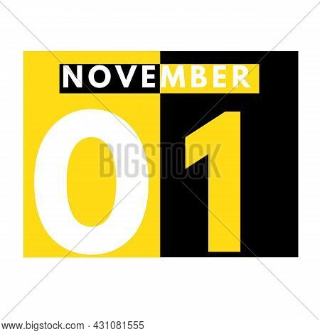 November 1 . Modern Daily Calendar Icon .date ,day, Month .calendar For The Month Of November