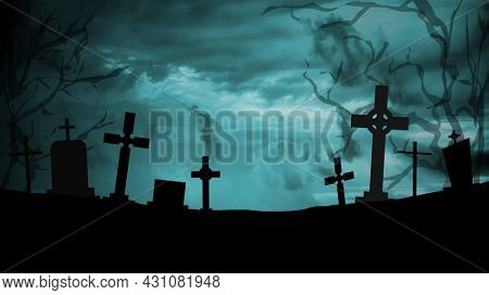 Scary and mystical cemetery at night with tombstones, graves and crosses on a moonlight night. Halloween, magic and mysticism.