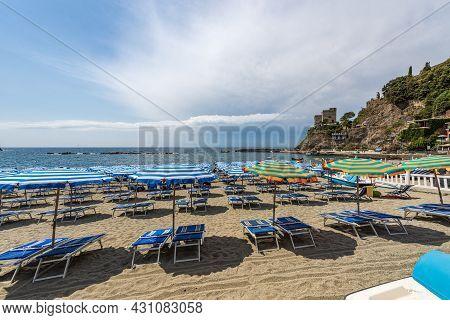 Beach Of The Monterosso Al Mare Village, Tourist Resort On The Coast Of The Cinque Terre National Pa