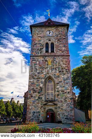 Exterior View To Facade Of Var Frue Kirke Aka Our Lady Lutheran Church , Trondheim, Norway
