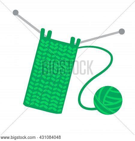 Knitting Needles. Handmade Hobby. Ball Of Woolen Threads And Green Yarn. Flat Cartoon Illustration I
