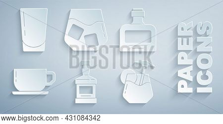 Set Whiskey Bottle, Coffee Cup, Cocktail, Glass Whiskey And With Water Icon. Vector