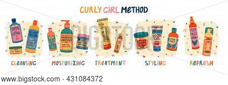 Illustration Of Cosmetics For Curly Hair Routine. Concept To Curly Girl Method. Hair Care Bottle Sty