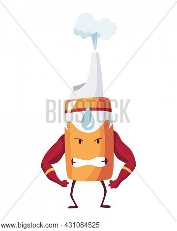 Pills super hero. Cute cartoon character with angry face. Spray bottle like a superman shows biceps. Medicinal strong help