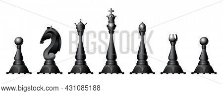 Chess figures  set. King, queen, bishop, knight or horse, rook and pawn - standard chess pieces. Strategic board game for Intellectual leisure. Black items