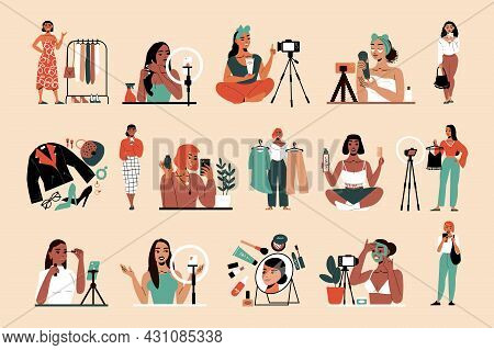 Beauty Fashion Bloggers And Vloggers Recording Makeup Skin Care Tutorials Showing Stylish Looks In T