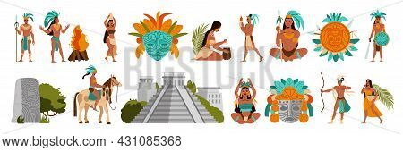 Everyday Life Of The People Of The Mayan Civilization Set Flat Isolated Vector Illustration
