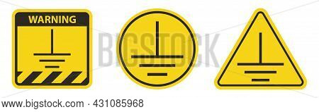 Protective Earth Ground Symbol Sign On White Background