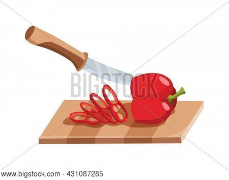 Sliced vegetable. Slicing pepper by knife. Cutting on wooden board isolated on white background. Prepare to cooking. Chopped fresh nutrition in cartoon flat style