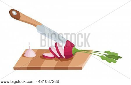 Sliced vegetable. Slicing radish by knife. Cutting on wooden board isolated on white background. Prepare to cooking. Chopped fresh nutrition in cartoon flat style