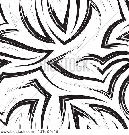 Seamless Vector Pattern Of Corners And Flowing Stripes.seamless Pattern Of Zigzags And Waves In Mono