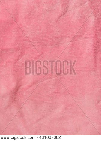 Pink Color Velvet Fabric Texture Top View. Female Blog Rose Velour Background. Smooth Soft Fluffy Ve