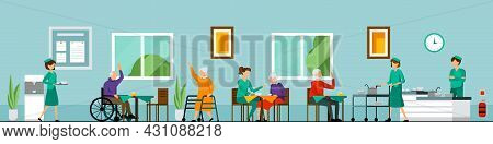 Flat Nursing Home Characters Composition With Nursing Home Environment Helping The Elderly And Assis