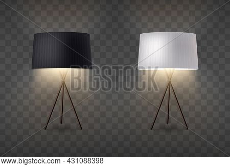 Table Lamps Realistic Set With Two Turned On Lanterns Standing On Tripod With Black And White Lampsh