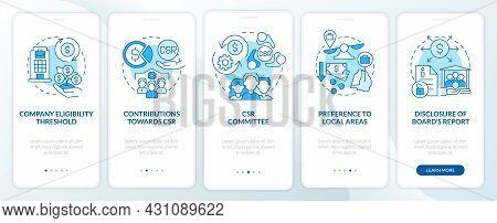 Csr Basics Blue Onboarding Mobile App Page Screen. Corporate Social Responsibility Walkthrough 5 Ste