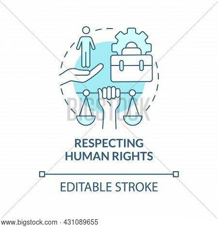 Respecting Human Rights Blue Concept Icon. Corporate Social Responsibility Abstract Idea Thin Line I