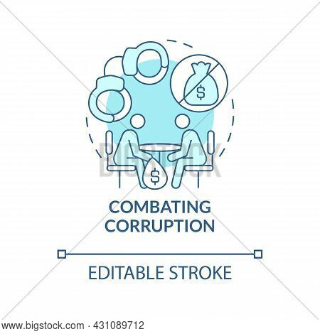 Combating Corruption Blue Concept Icon. Avoid Bribery And Money Extortion Abstract Idea Thin Line Il