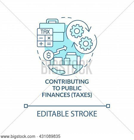Contributing To Public Finances Blue Concept Icon. Paying Taxes Abstract Idea Thin Line Illustration