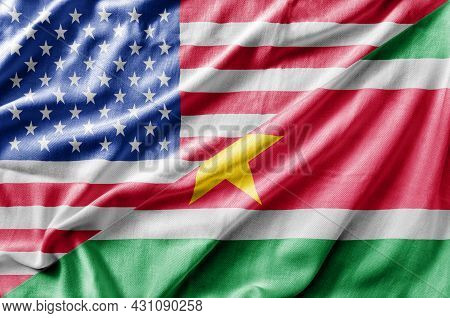 Mixed Usa And Suriname Flag, Three Dimensional Render