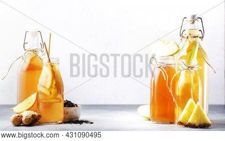 Healthy Fermented Kombucha Drinks. Probiotic Superfood Tea, Keto Diet Drink, Tepache, Cider, Kvass,