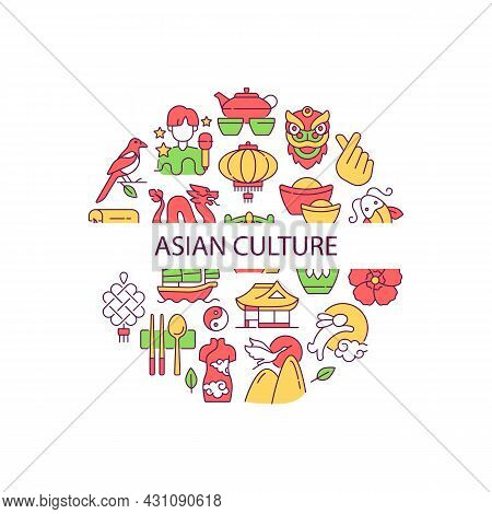 Asian Culture Abstract Color Concept Layout With Headline. Eastern Traditions. South Korea. Japan Cu
