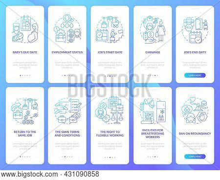 Maternity Leave Related Blue Gradient Onboarding Mobile App Page Screen Set. Walkthrough 5 Steps Gra