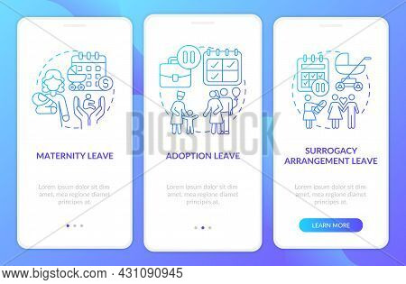 Maternity Leave Types Blue Gradient Onboarding Mobile App Page Screen. Walkthrough 3 Steps Graphic I