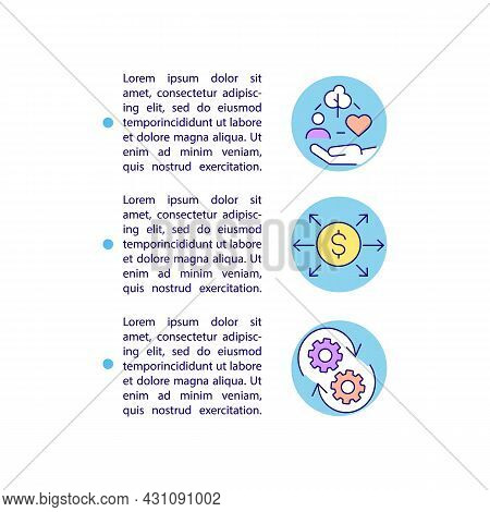 Employing Csr Funds Effectively Concept Line Icons With Text. Ppt Page Vector Template With Copy Spa
