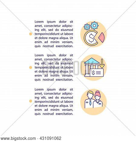 Transferring Unspent Funds Concept Line Icons With Text. Csr Account. Ppt Page Vector Template With