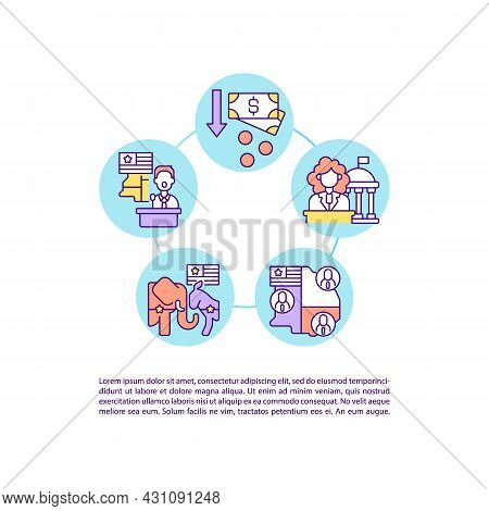 Contributions To Political Parties Concept Line Icons With Text. Ppt Page Vector Template With Copy