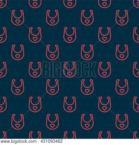 Red Line Baby Bib Icon Isolated Seamless Pattern On Black Background. Vector
