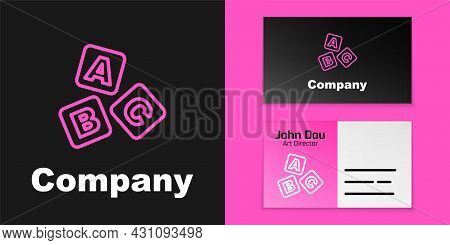 Pink Line Abc Blocks Icon Isolated On Black Background. Alphabet Cubes With Letters A, B, C. Logo De