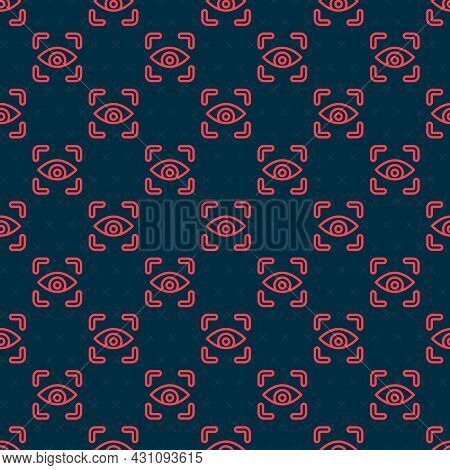 Red Line Eye Scan Icon Isolated Seamless Pattern On Black Background. Scanning Eye. Security Check S