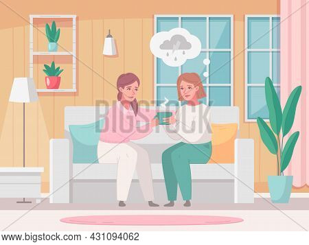 Empathy Characters Cartoon Composition With Home Living Room Interior And Woman Sharing Tea Cup With