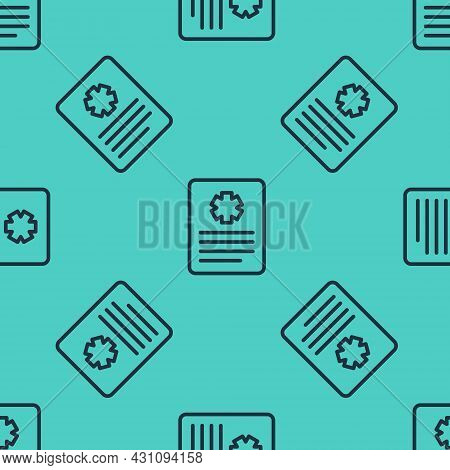Black Line Medical Clipboard With Clinical Record Icon Isolated Seamless Pattern On Green Background