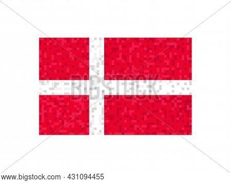 Denmark Flag Pixel Art. 8-bit Denmark Flag Sign. Design For A Festive Banner And Poster. Vector Illu