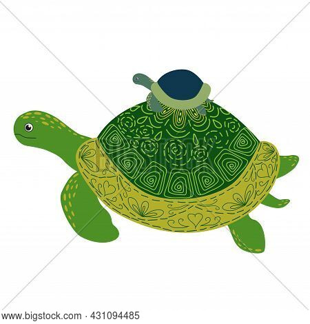 Scandinavian Style Green Turtle With Painted Shell Pattern Hand Drawn With Cub On Back, Mom And Baby
