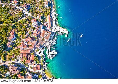 Town Of Valun Sailing Bay On Cres Island Aeial View, Kvarner Region Of Croatia
