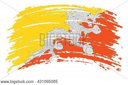 Bhutan Flag In Grunge Brush Stroke, Vector Image