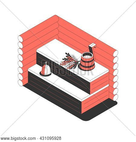 Sauna Bath Spa Isometric Composition With View Of Sauna Sweating Room With Wooden Bench And Ladle Bu