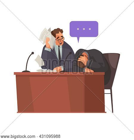 Law Justice Composition With Unhappy Client With Thought Bubble And Attorney Vector Illustration