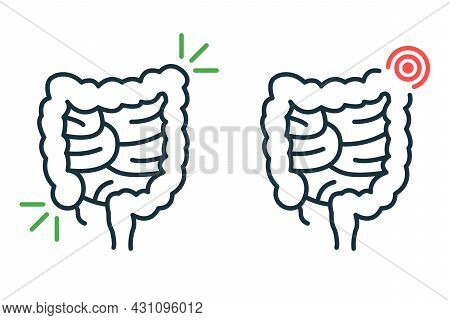 Healthy And Sick Bowel Line Icon. Health, Illness Large Intestine Pictogram. Diseased Colon Outline