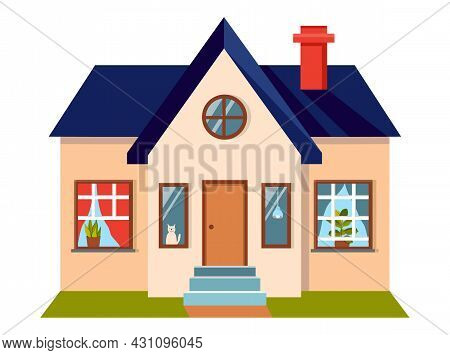 Illustration Of A Nice Cozy House In A Flat Style. There Is A Lawn In Front Of The House. There Are