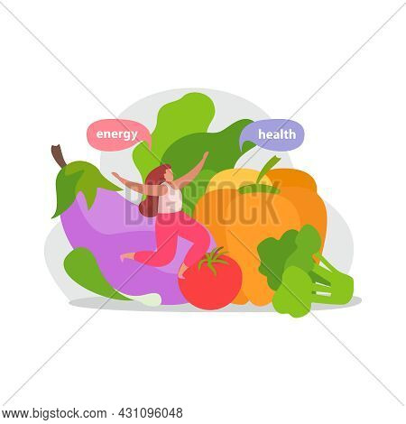Healthy And Super Food Flat Icons Composition With Woman Jumping Among Vegetables With Thought Bubbl