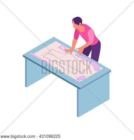 Isometric Sewing Workshop Studio Composition With Human Character Of Fashion Designer Making Dress P