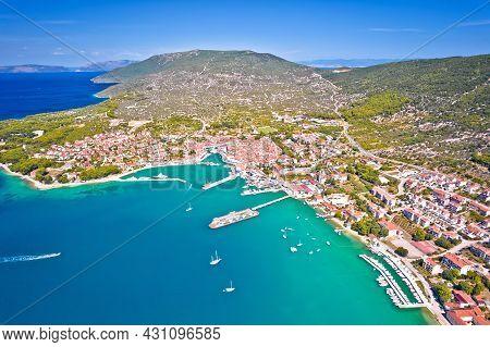 Town Of Cres Bay Aerial Panoramic View, Island Of Cres, Kvarner Region Of Croatia